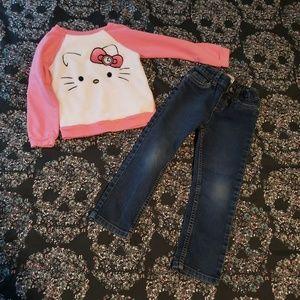 Hello Kitty Pink Pullover Sweatshirt & Jeans 4T
